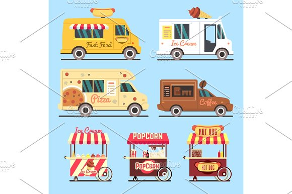 Street Fast Food Delivery Trucks Flat Set