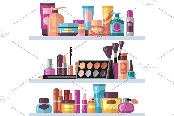 Cosmetic Bottles On Store Shelves Woman Beauty And Care Vector Concept