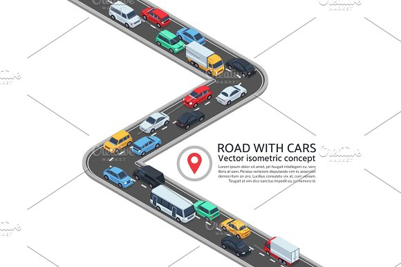 Isometric Street With Cars 3D Highway And Vehicles Vector Concept