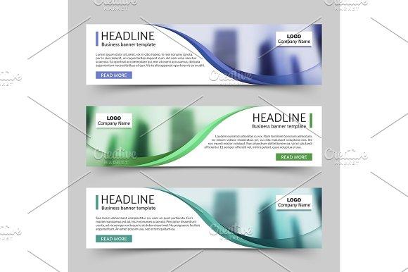 Website Horizontal Business Banners Vector Template