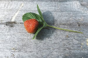 Fresh colourful strawberry on a wooden background
