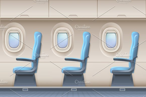 Passenger Airplane Vector Interior Aircraft Indoor With Comfortable Chairs And Portholes