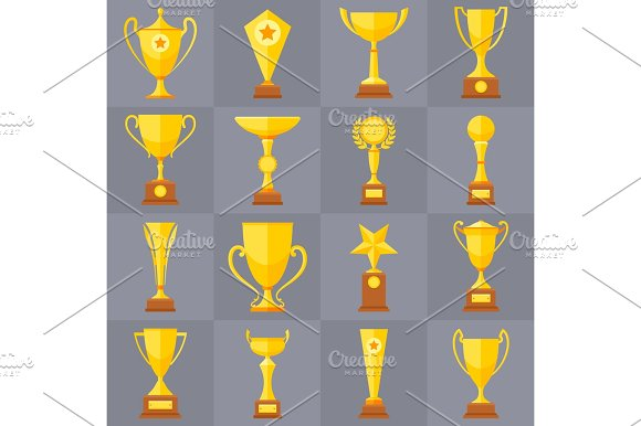Winner Trophy Gold Cups Flat Vector Icons For Sports Victory Concept