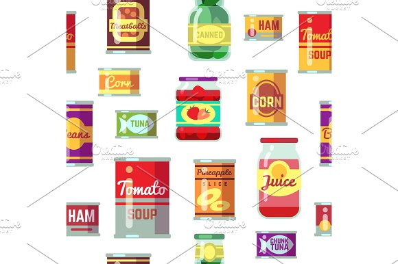 Canned Goods And Food In Metal Container Vector Seamless Pattern