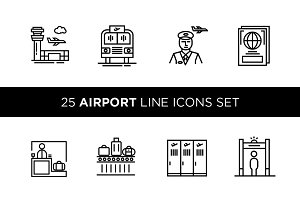 25 Airport Line Icons Set