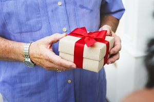 Man with a gift for anniversary