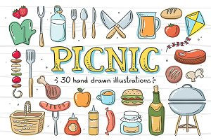 Picnic Hand Drawn Elements