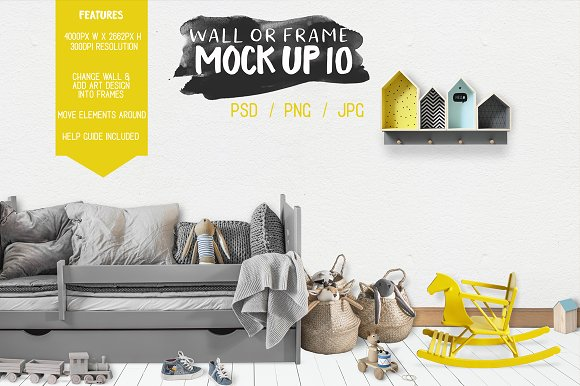 Kids Room Wall Frame Mock Up 10