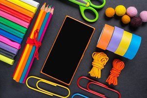 Stationery tools on a background