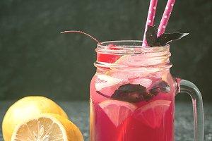Red basil homemade lemonade