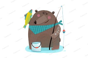 Bear fisherman with fishing rod