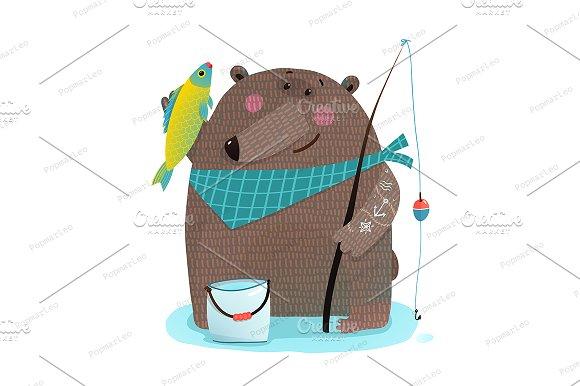Bear Fisherman With Fishing Rod