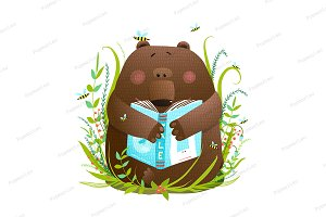 Bear cub reading book cute cartoon