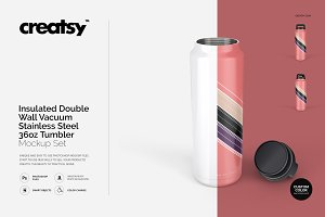 Stainless Steel Tumbler 36oz Mockup