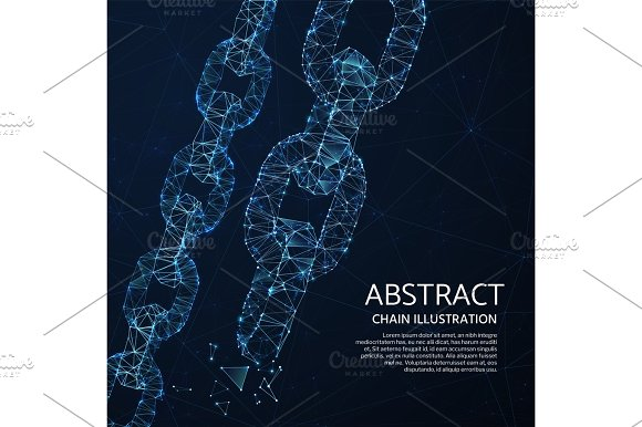 Chain Links 3D Network Vector Abstract Concept With Polygon Shapes And Light Mesh Points