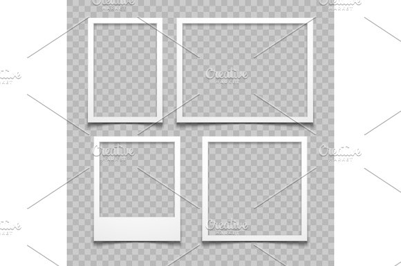 Photo Frames With Realistic Drop Shadow Vector Effect Isolated Image Borders With 3D Shadows