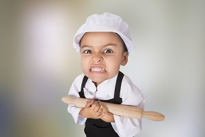 Young angry chef