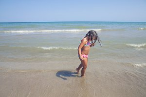 Young girl in beach