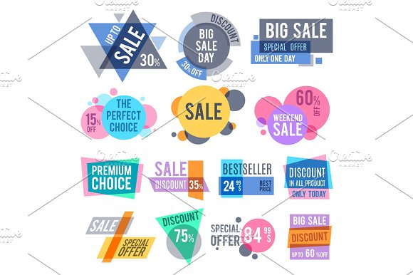 Promotion Badges Best Offer And Price Stickers And Discount Labels Vector Set