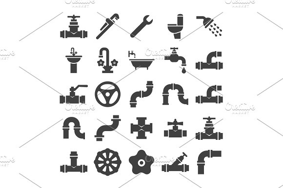 Sanitary Engeneering Valve Pipe Plumbing Service Objects Icons Collection