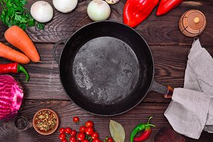 black cast-iron frying pan