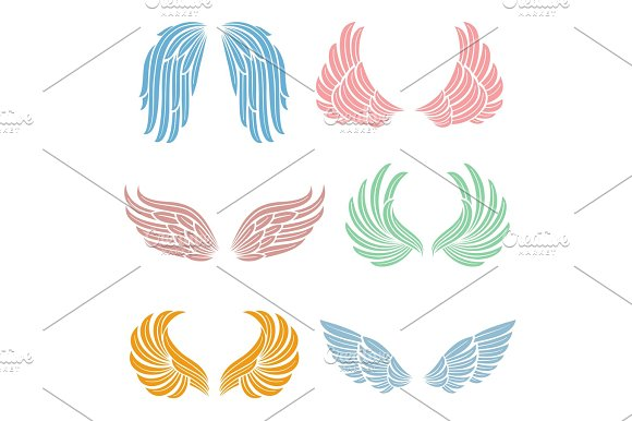 Elegant Angel Wings With Long Feather Angelic Symbols Isolated Vector Set