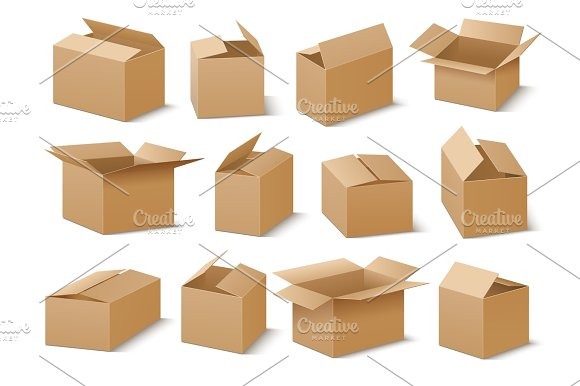 Open And Closed Cardboard Boxes Vector Set