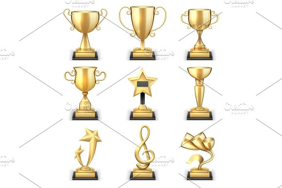 Realistic Golden Trophy Cups And Sports Awards Vector Set