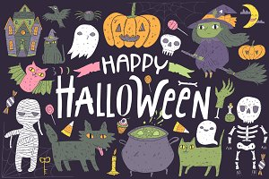 Happy Halloween pattern, characters