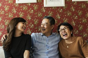 Happy japanese family