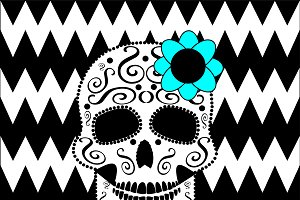 Skull with flower and zigzag