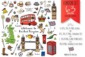63 London color hand drawn symbols!