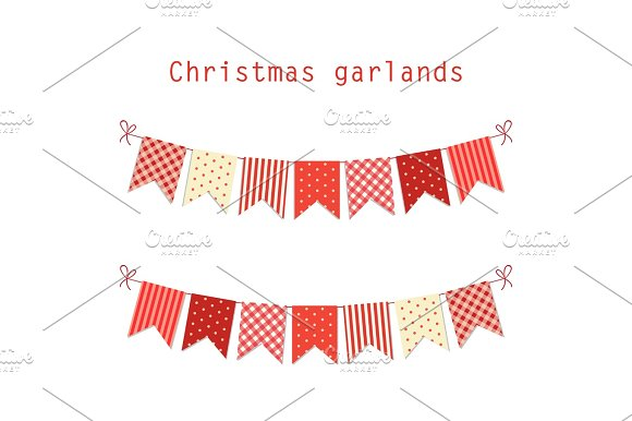 Festive Bunting Flags Merry Christmas In Traditional Colors