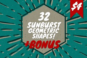 32 Sunburst geometric shapes + Bonus