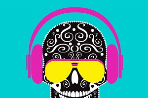 Skull vector with sunglasses