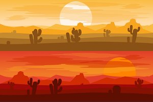 Desert mountains banners