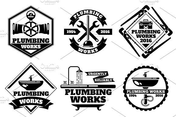 Plumber Working Logo Set