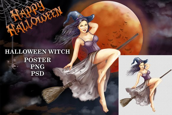 Halloween Witch Pin Up Girl