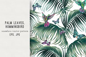 Palm leaves,exotic birds pattern