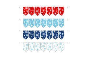 Festive winter bunting flags with snowflakes in traditional colors