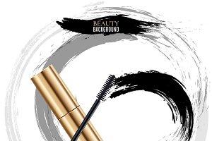 Woman cosmetic brush smears