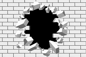 Brick wall break vector background
