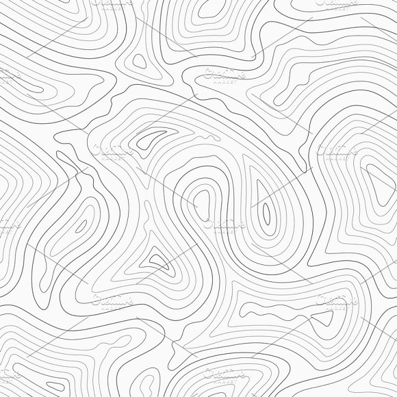 Contour Lines Map Seamless Pattern
