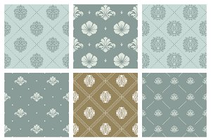 Damask wallpaper background set