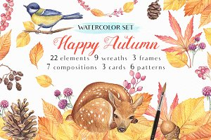 -40% OFF Happy Autumn-Watercolor Set