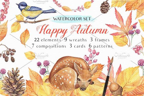Happy Autumn-Watercolor Set