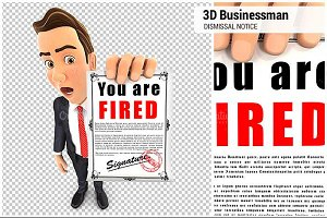 3D Businessman Dismissal Notice