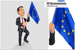 3D BusinessmanEuropean Flag