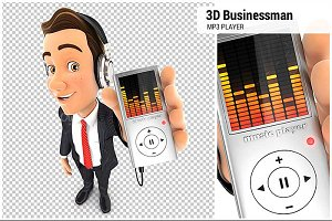 3D Businessman Listening Music