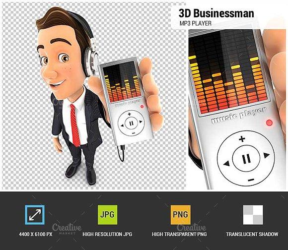 3D Businessman Listening Music